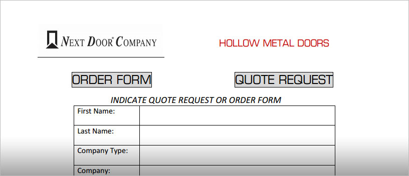 Order Forms : Next Door Company