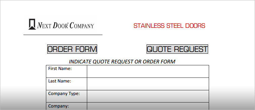 Order Forms  Next Door Company